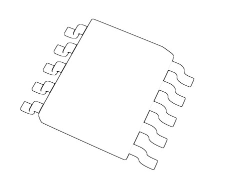 Electrionic Circuit Chip Package SSOP 3d illustration sketch outline