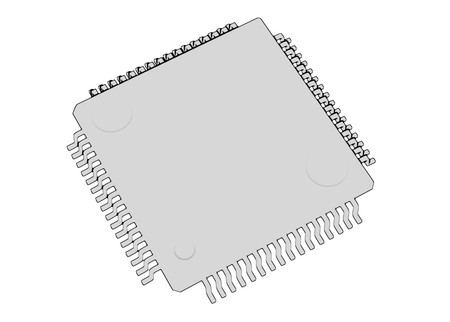 Electrionic Circuit Chip Package LQFP 3d illustration skecth outline