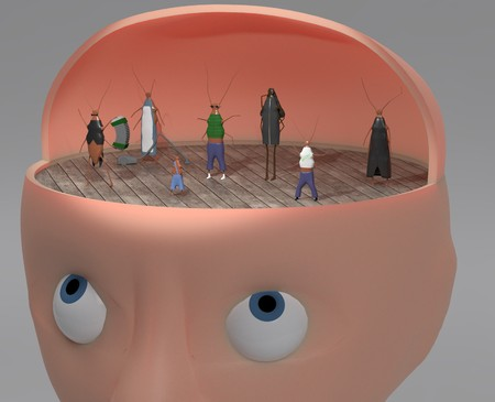 3d illustration of person with other faces like cockroach inside for inner voices and multiply personalities concept Stock Illustration - 120815067