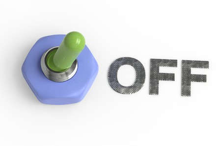 Metallic switch off position painted green 3d illustration isolated