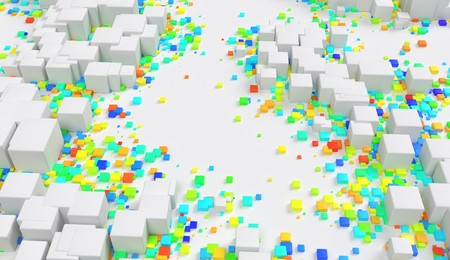 Abstract geometric color cubes random placed on background 3d illustration Stock Photo