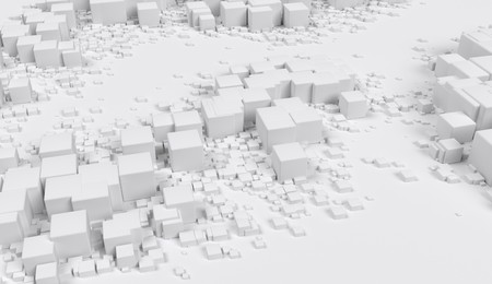 Abstract geometric cubes random placed on background 3d illustration