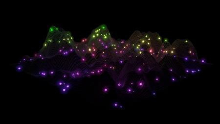 Big Data. Data mesh. Wireframe Landscape . Geometric Terrain Design. 3d Illustration Stock Photo