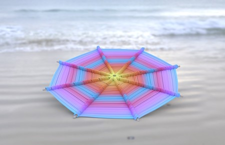 Colorful Mandalas on wood for anti-stress therapy and yoga on sand with sea view coast 3d illustration Stock Photo