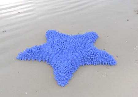 Blue starfish on sandy beach 3d illustration