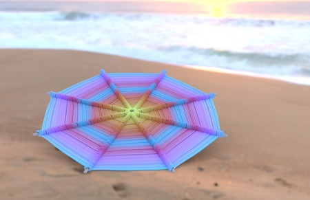 Colorful Mandalas on wood for anti-stress therapy and yoga on sand with sea view, sunrise time 3d illustration