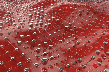 Red wireframe metallic cubes mesh with ball wave landscape abstract background. Big data 3d illustration. Stock Photo