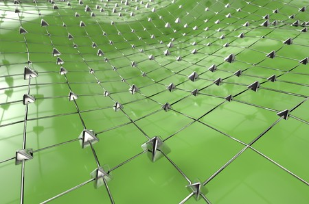 Green wireframe metallic blue mesh with pyramids wave landscape abstract background. Big data 3d illustration.