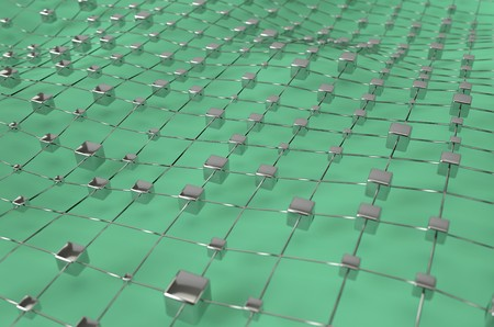 Green wireframe metallic cubes mesh with ball wave landscape abstract background. Big data 3d illustration. Stock Photo
