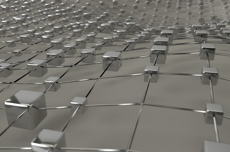 Gray wireframe metallic cubes mesh with ball wave landscape abstract background. Big data 3d illustration.