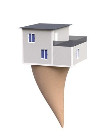 Gift home on icecream . Surprise real estate 3d illustration