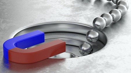 3D rendering of metal balls arrange with magnet and funnel conversion rate concept, 3d illustration
