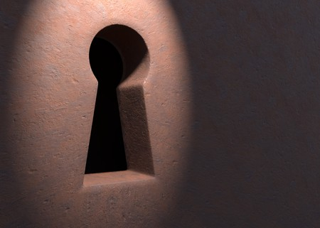 Keyhole in grunge door with light 3d illustration