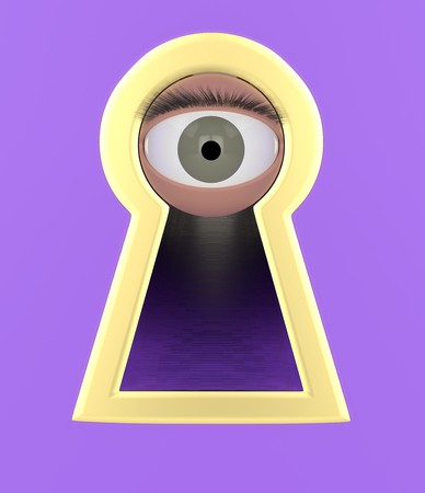 Eye looking through a keyhole violet background 3d illustration