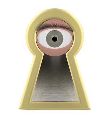 Eye looking through a keyhole isolated 3d illustration