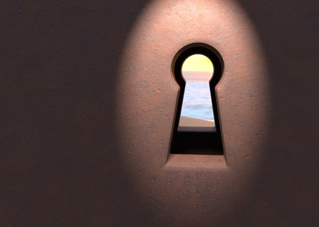 Sea thru keyhole in rusted door with light 3d illustration