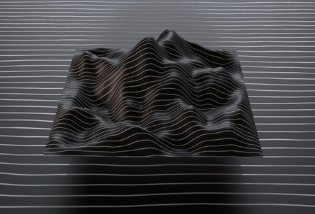 Abstract digital landscape with lines on horizon. 3d render