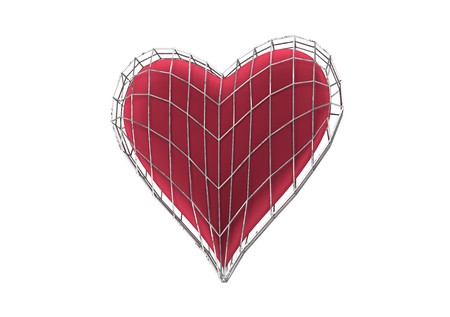 red heart in wireframe jail 3d illustration