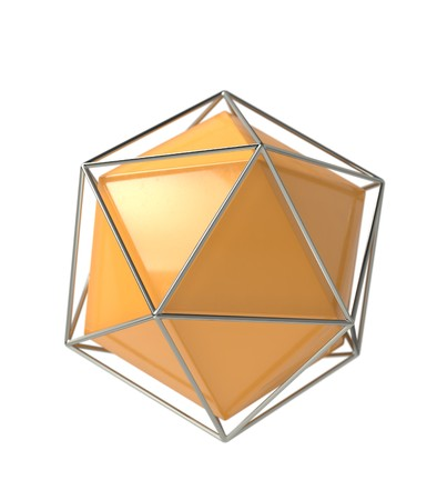 Icosahedron 3d geometric volume solid shape in wireframe metal jail, 3d render Stock Photo
