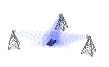 Cellular mobile equipments location, conceptual abstract 3d render
