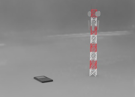 Transmission cellular towers and mobile phone communications antennas. 3d render