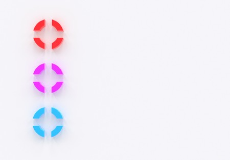 Color bullet items infographics template three options, items or positions, list, placed on the white background 3d illustration