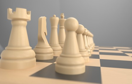 chess board game concept of business ideas and competition, strategy ideas concept white figures 3d illustration Stock Photo