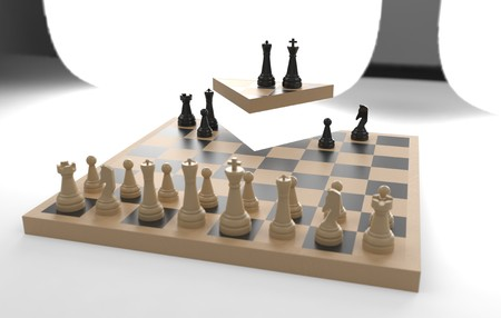 chess board game concept of business ideas and competition, strategy ideas concept white figures - break the rules 3d illustration