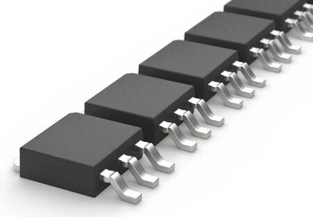 DPAK mosfet electronic transistor array isolated on white 3d illustration Reklamní fotografie
