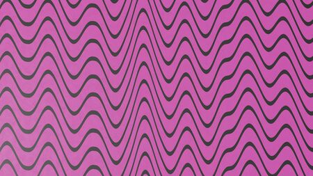 Abstract magenta color wave pattern with black lines. 3d illustration
