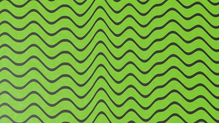 Abstract green color wave pattern with black lines. 3d illustration Stok Fotoğraf