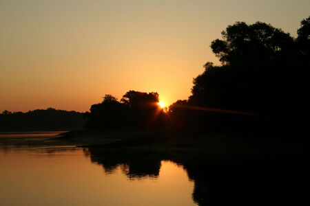 floodplain: Sunrise on the River Elbe in Saxony-Anhalt  Germany