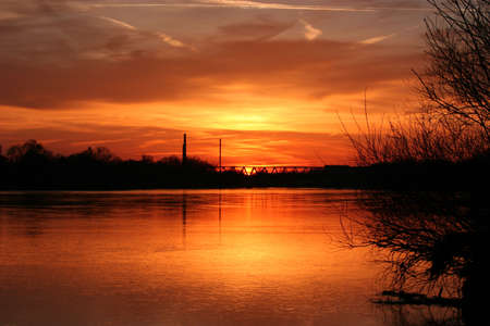 floodplain: Sunset on the River Elbe in Saxony-Anhalt  Germany
