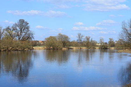 Mulde river in early spring in Germany Stock Photo