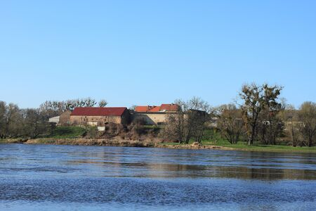 Village on the Elbe river in Saxony-Anhaltgermany in early spring photo