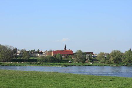 floodplain: Village on the Elbe river, in spring