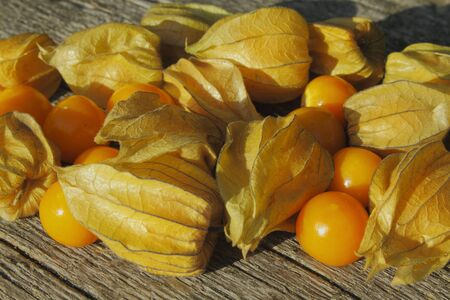 cape gooseberry: Golden Strawberry  Physalis  on a wooden table