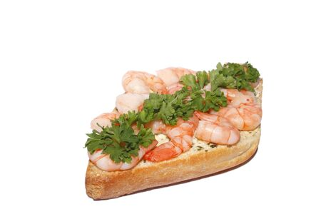 Panini Rustico with herb butter and shrimps, garnished with parsley