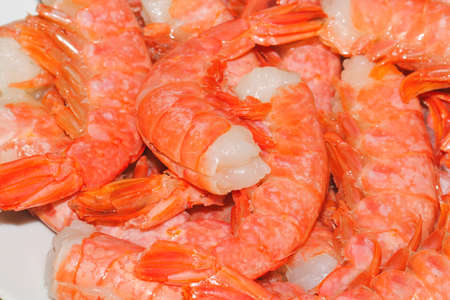 gutted: Fresh, raw, gutted shrimps before cooking