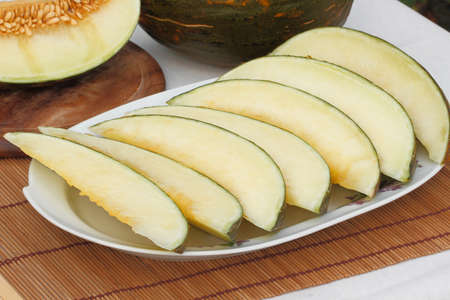 musk: Sliced musk ??melon on a plate