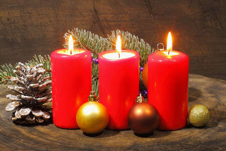 advent candles: Advent candles with fir green and Christmas decoration Stock Photo