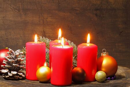 advent candles: Advent candles with fir greenand Christmas decoration Stock Photo