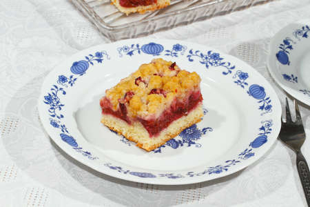 Homemade plum cake on a plate Stock Photo