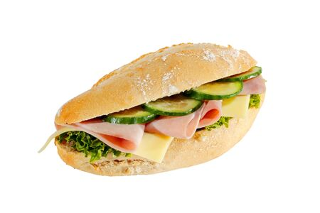 Baguette roll with ham, cheese, lettuce and cucumber slices, isolated Stock Photo
