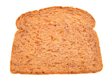 Single slice of multigrain bread isolated on white background.