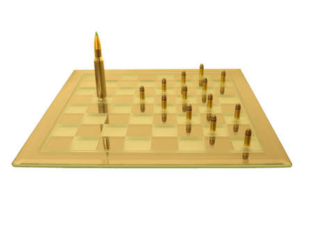 The king fights the pawns on the chess board (isolated).