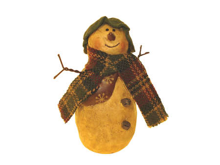 Snowman figure with scarf isolated on white.