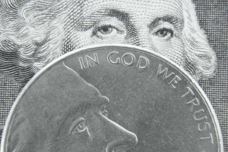 George Washington behind Jefferson nickel. Stock Photo - 3815925