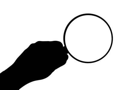 Magnifier in hand on white.