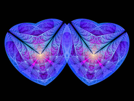 Blue and Violet paired fractal hearts